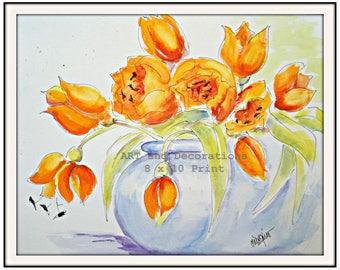 Watercolor painting Print Orange Tulips, floral still life art, Living Room Art, Bedroom wall art, orange and blue