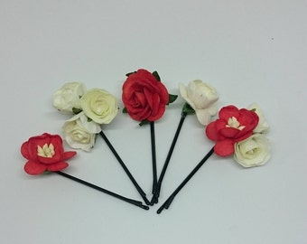 Red and White Flower Hair Pins