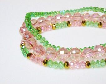 Pastel Crystal Stacking Bracelets / Set / Set of 3 Bracelets / Pastels / Pink / Green / Gold / Simple / Stretchy / Shiny / Pretty / Feminine