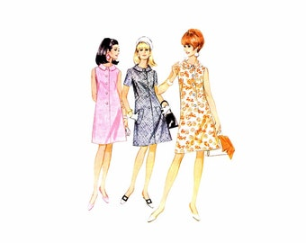 1960s McCalls 8785 Misses Front Button Flared Dress Vintage Sewing Pattern Size 14 Bust 34 UNcut