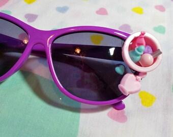 Retro sunglasses, purple cateye glasses fairy kei kawaii cabochon decoden barbie hairdresser gift hair stylist rockabilly gifts under 20