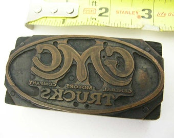 Vintage GMC/GM Trucks Logo Memorabilia/Advertising Printers/Printing Block Letterpress Copper on Wood Circa 1912 Through 1940's