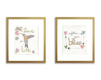 Inspirational nursery art, set of 2, quote nursery art, love your life, follow your bliss, hummingbird art, positive quote art, wall art