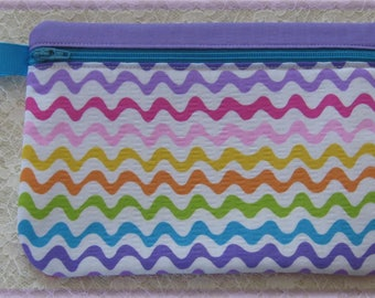 Rainbow colors fabric purse bag with zipper, gadget bag, zipper pouch, cosmetic bag, coin purse pencil crayon case summer birthday gift idea