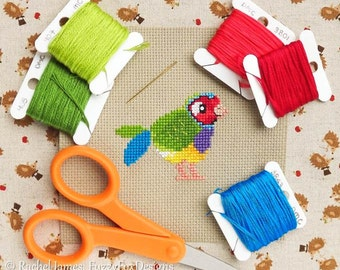 Gouldian Finch Cross Stitch Pattern PDF | Cute Little Bird | Easy | Modern | Beginners Counted Cross Stitch | Instant Download
