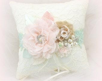 Lace Ring Bearer Pillow Ivory Blush Mint Wedding Ring Cushion Holder Vintage Style