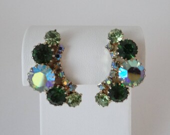 Vintage Weiss Green and Aurora Borealis Faceted Rhinestone Clip Earrings on a Silver Tone Setting - Vintage Earrings - Vintage Weiss Earring
