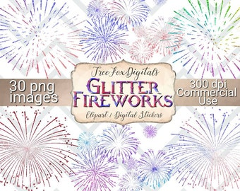 Glitter Fireworks clipart, 4th of July clipart, commercial use clipart, fireworks digital stickers, fireworks png, 4th of July fireworks