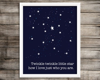 Twinkle Twinkle Nursery Children's Art Print  8 X10 Home Decor ~ Digital Download
