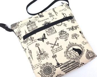 Cross Body Travel Messenger Bag - All Things French on Natural Linen