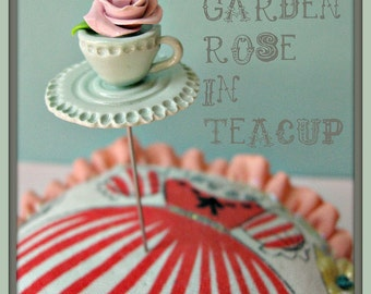 Shabby Rose in a Teacup Pin Topper