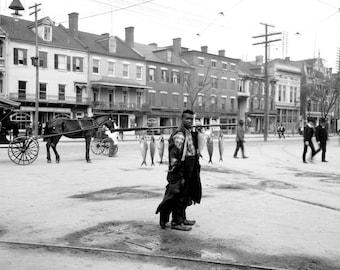 "1903 Fish Vendor, Augusta, Georgia Vintage Photograph 11"" x 17"" Reprint"