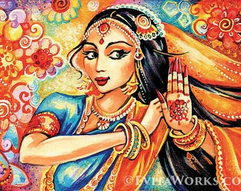 Indian dance, Indian woman painting, Bollywood dancer, art, giclee, feminine decor, beauty painting print 8x11+
