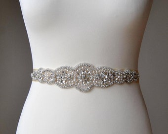 "19"" Wedding Dress Sash Belt, Luxury Crystal Bridal Sash, Rhinestone Sash, Rhinestone Bridal Bridesmaid Sash Belt, Wedding dress sash"