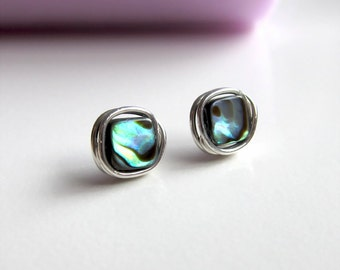 Abalone earrings. Stud earrings with paua shell. Abalone wrapped in sterling silver.