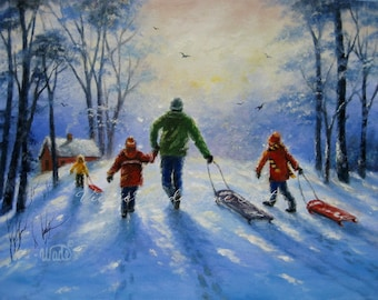 Snow Painting, ORIGINAL sledding painting, dad painting, three children, snow paintings, playing in snow, father snow art, Vickie Wade art