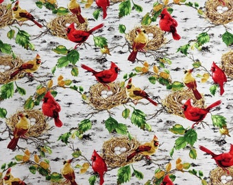 Cardinals on Birch Trees & Bird Nests Timeless Treasures #6904 By the Yard