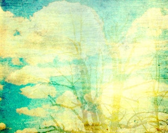 CLEARANCE Surreal, Abstract, Nature Photograph, Sky and Trees and Clouds, Blue, Yellow, 5x5 inch Fine Art Print, Ghosts of Who We Used to Be