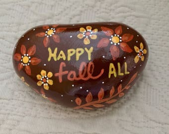 Happy Fall Painted Rock, Thanksgiving Place Setting, Harvest Decoration, Thanksgiving Table Decoration, Hostess Gift, Painted Rock