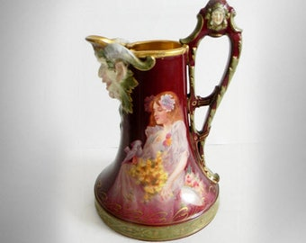 "Royal Vienna hand painted art nouveau ""West Wind"" pitcher with young girl"