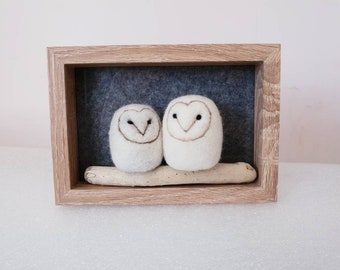 Framed owls, driftwood needle felted owls, baby owls, nursery gift, framed fibre art