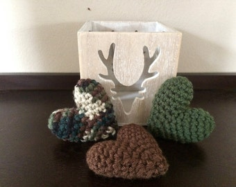 Crochet Puffy Hearts, Camouflage, Set of 3, Charity Donation