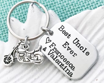 "Hand Stamped ""Best Uncle Ever"" - Keychain Options to Customize charms: motorcycle, baseball, football or golf - for Grandpa, Dad, Uncle"