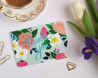 Floral Thank You Card - Thank You Card - Greeting Card