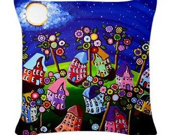 Funky Houses Fun Trees Folk Art Pillow - Woven Throw Pillow Whimsical Art by Renie Britenbucher