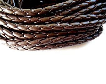 5M Brown Braided Leatheroid Cord 5mm - 22-33-1