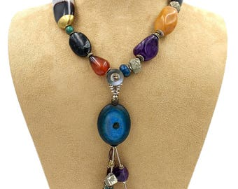 Parrot: natural stones with removable pendant fashion necklace