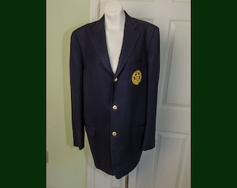 Vintage 1960's Men's Trinity College Blue Wool Blazer Jacket