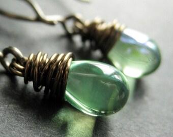 BRONZE Earrings - Spring Green Earrings with Glass Teardrops, Wire Wrapped Earrings. Handmade Jewelry.
