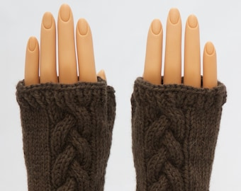 Caribou Brown Wool Arm Warmer Fingerless Mitts or Gloves