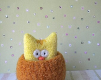 Cameron - Felted Cat in a Bowl - Handmade