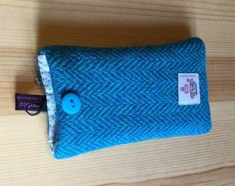 iPhone SE, 5, 5S case, blue herringbone Harris tweed iPhone cover, made in Scotland