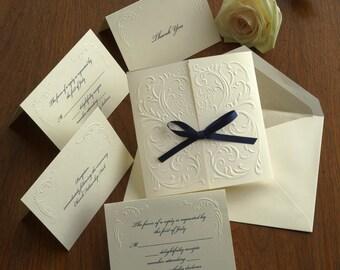 Blind Embossed, Wedding Invitations, Invitation Set, Filigree Embossed, Romantic invite, Elegant Wedding, Vintage, Ribbon/Versailles/AV1172