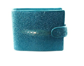 Portefeuille wally galuchat/cuir bleu turquoise