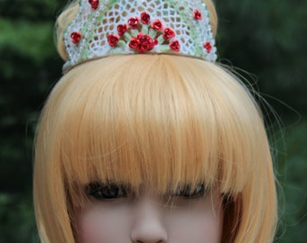 Princess Tiara with Delicate Red Roses and Green Accents HALLOWEEN SALE