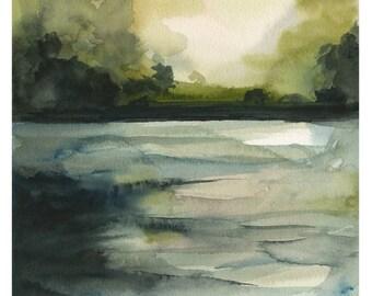 paysage paysage peinture, aquarelle, photographie de paysage, «Dans l'eau»