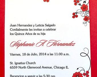 Quinceanera Custom Invitations - Red and Black Flower Invites