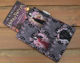 Handmade with Disney Villains fabric Maleficent Cruella De Vil Evil Queen book sleeve keeper paperback cover book lover gift goth