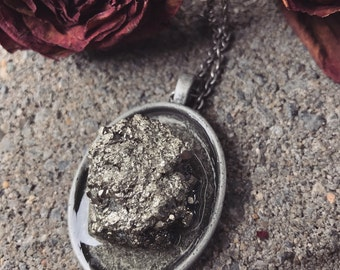 Pyrite mineral necklace