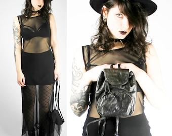 Vintage Black Mesh Maxi Dress Transparent Sheer Sexy Purple Gothic Goth Punk Grunge Dark Alternative Hot Summer Festival