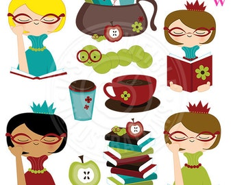 Bookworm Princess Cute Digital Clipart, Reading Clip Art, Books, Study, Coffee Graphics, Reading Girl, Teacher Clipart, Apple, Library