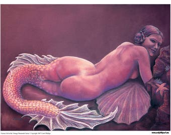Mermaid Art, Fantasy Art Print,Pinup, PIN UP ocean beach seascape nautical art Garnet