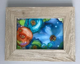Alcohol Ink Painting in Frame