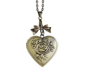 Get 15% OFF - Heart Shape Antique Bronze Photo Locket Necklace - Rose Engraved Locket Necklace - Mother's Day SALE 2018