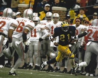 Tim Biakabutuka Michigan Wolverines AUTHENTIC signed 8x10 photo Nice