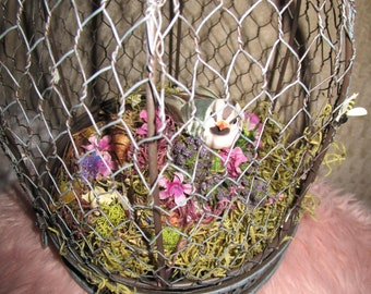 Lovely Wired Bird Cage, Spring Decor, Eclectic Decor, Home Decor